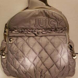 Juicy Couture silver quilted backpack EUC